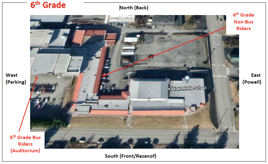 Arial view of the 6th grade entrance in to. the Kodiak Middle School