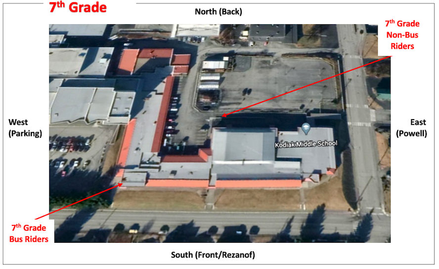 Arial view of the 7th grade entrance in to. the Kodiak Middle School