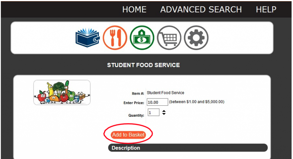 Food services screen showing a circle around the Add to Basket button.