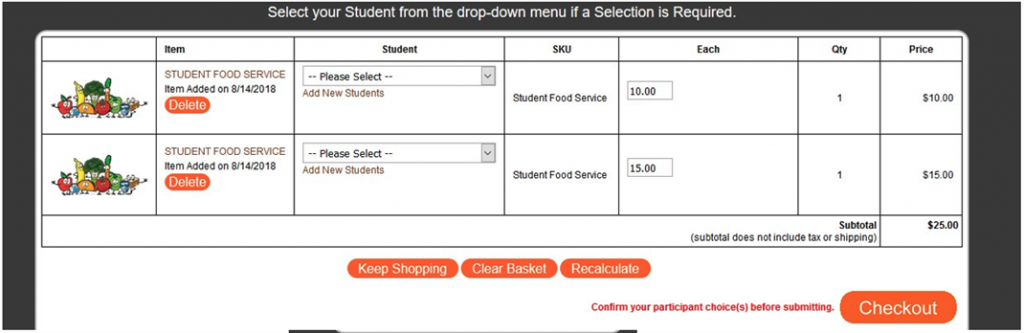 Food services screen showing a red circle around the Checkout button.